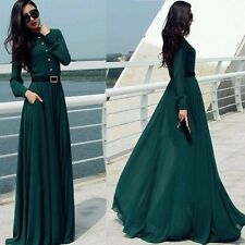 Women Long Sleeve Maxi Dress Evening Party Cocktail Bridesmaid Prom Gown Dress