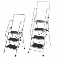 3 4 Step Ladder With Safety Handrail Anti-Slip Rubber Mat Tread Steel Foldable