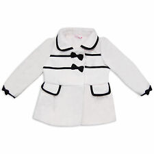 Girls Toddler Boutique Style Wool Blend Winter Coat Jacket Bows Cream/Black