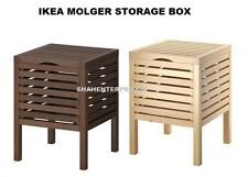 IKEA MOLGER Storage Stool,Bath Kitchen Room MultiUse STORAGEBOX Birch/Dark Brown