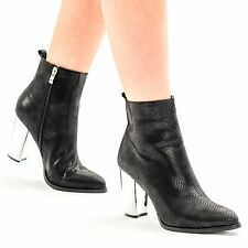 Womens Ladies Silver Block High Heel  Ankle Stunning Boots Snake Print Shoes