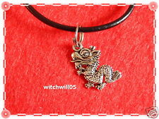 """D - Tibetan Silver charm & necklace-16"""" leather thong & 1.5"""" extendable chain"""