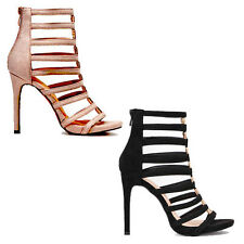 WOMENS LADIES STRAPPY GLADIATOR STYLE STILETTO HEEL ANKLE SANDALS SHOES SIZE 2-7