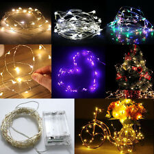 2/10M 20/100LED Button Battery Operated LED Copper Wire String Fairy Lights New