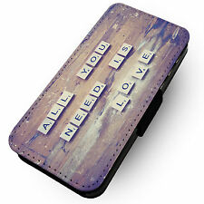 All You Need Is Love -Faux Leather Flip Phone Cover Case- Song Lyric Design