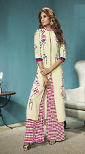 Party Wear Readymade Cream Palazzo With Tunic Set - 13265