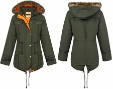 New Womens Girls Fishtail Quilted Inner Contrast Parka Jacket