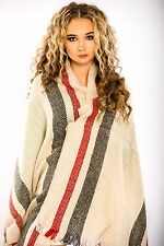 Fashion Womens Winter Warm Cashmere Wool Style  Long Reversible Shawl Wrap Scarf
