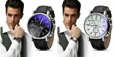 Men's Tachymeter Chronograph Designer Watch with Crocodile Effect Leather Strap