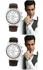 Men's White Dial Tachymeter/Chronograph Watch With Crocodile Leather Strap