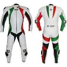 TUTA INTERA MOTO RACING IN PELLE TRIPPLE CUCITURE BIESSE Trecolori