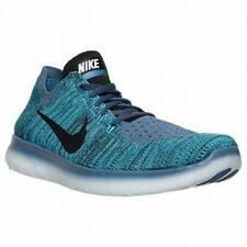 Mens NIKE FREE RN FLYKNIT Textile Running Blue Black Trainers 831069 404