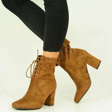 New Womens Ankle Boots Ladies Mid Block Heel Lace Up Winter Shoes Size Uk 3-8