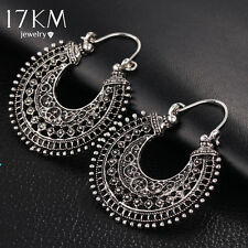 17Km New Hollow Out Double Sides Tibetan Silver Color Hoop Fashion Vintage Earri