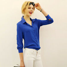 Work Wear Women Shirt Blouse Casual Solid Elegant Ladies Chiffon Office Blouse T