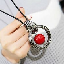 New Circles Simulated Pearl Ball Pendant Long Necklace Women Black Chain Fashion