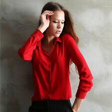 Women Shirt Loose Turn-Down Collar Long Sleeve Chiffon Ladies Blouse Work Wear F