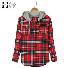 Heegrand Plaid Hooded Casual Spring Blouse Women Shirts Tops Full Sleeve Pockets
