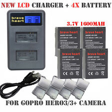 Gopro Go Pro Accessories 4 X Gopro Hero 3 Batteries 3.7V + Lcd Dual Usb Charger1