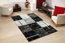 MODERN MEDIUM LARGE BLACK GREY RUGS ALL FLOORS SCOTTISH SQUARE CARPET MAT RUNNER