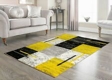 MODERN MEDIUM LARGE GREY YELLOW RUG ALL FLOORS SCOTISH SQUARE CARPET MAT RUNNER