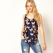 Newest Women'S Spring And Summer Chiffon Tops Butterfly Print Chiffon Shirt Swee