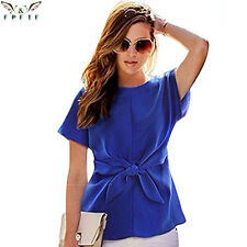 Fashion Women Kimono Bowknot Blouses O-Neck Short Sleeve Shirts Chiffon Casual V