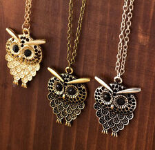 Free Shipping Women Vintage Cute Bronze Owl Pendant Long Sweater Chain Necklace1