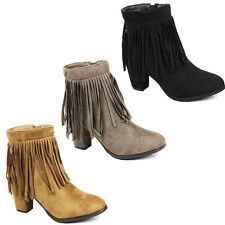 WOMENS LADIES CASUAL BLOCK HEEL TASSLE CHELSEA STYLE ANKLE BOOTS SHOES SIZE 3-8