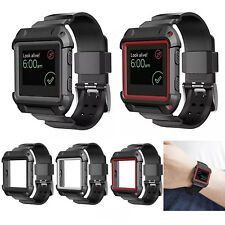 Silicone Wrist Band Strap w/ Protective Shell Case Holder For Fitbit Blaze Watch