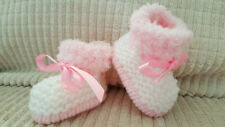 BABY GIRLS PINK/CREAM HAND KNITTED ARAN BOOTS / BOOTIES - EB  -  12-18 MONTHS