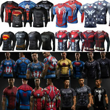 DC Men's Marvel Superhero Compression T-Shirt Long Sleeve Sport Cycling Top Tee