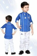 Kids Party wear Boys clothing 2 peace Cotton Shirt & Pants Suit - Blue