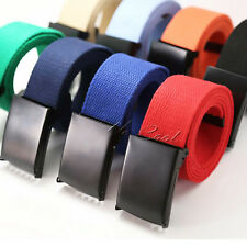 UK Durable Unisex Cotton Canvas Webbing Waist Belt Black Buckle Army Camping