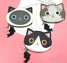 Retro Cat and Fish Fob Coin Purse Harajuku Key Ring Card Zipped Gift Cat Lovers