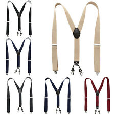 Unisex Mens Womens Trousers 4 Clips Suspenders Adjustable Y-Back Braces