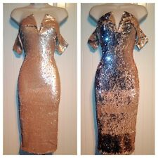 Sequin Bardot Off Shoulder Bodycon Midi Evening Cocktail Dress Size 8 10 12 14