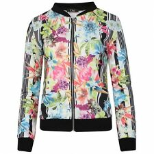 Summer Tropical Floral Mono Print Long Sleeved Zip Up Front Bomber Jacket
