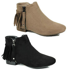 WOMENS LADIES CASUAL LOW BLOCK HEEL TASSLE CHELSEA STYLE ANKLE BOOTS SHOES SIZE