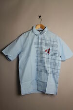 NICKELSON SILVER-MENS SHORT SLEEVE GRAPHIC CELESTE BLUE SMART CASUAL SHIRT