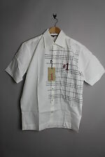 NICKELSON SILVER-MENS SHORT SLEEVE GRAPHIC WHITE SMART CASUAL SHIRT