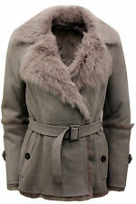 Women's Grey Toscana Sheepskin Trench Coat with Belt Tie