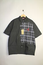 NICKELSON SILVER-MENS SHORT SLEEVE GRAPHIC BLACK SMART CASUAL SHIRT