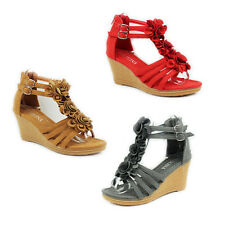 WOMENS LADIES PLATFORM STRAPPY GLADIATOR STYLE WEDGE HEEL SANDALS SHOES SIZE 4-9