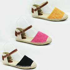 WOMENS LADIES WEAVE SOLE ANKLE STRAP CANVAS ESPADRILLES SHOES SANDALS SIZE 3-8