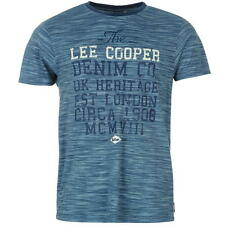 Lee Cooper Mens All Over Print Large Logo T-Shirt Blue New With Tags