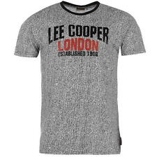Lee Cooper Mens All Over Print Large Logo T-Shirt Black Marl New With Tags