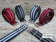 Nato G10 Bond stripe Nylon Divers, MOD, Military Watch Strap 18,20,22mm