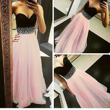 Lady Long Sequins Chiffon Evening Party Dress Formal Prom Bridesmaid Ball Gowns