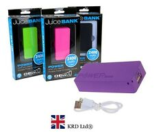 JUICE BANK PHONE CHARGER Portable Charger Battery Backup 2400 MAH Power Bank NEW